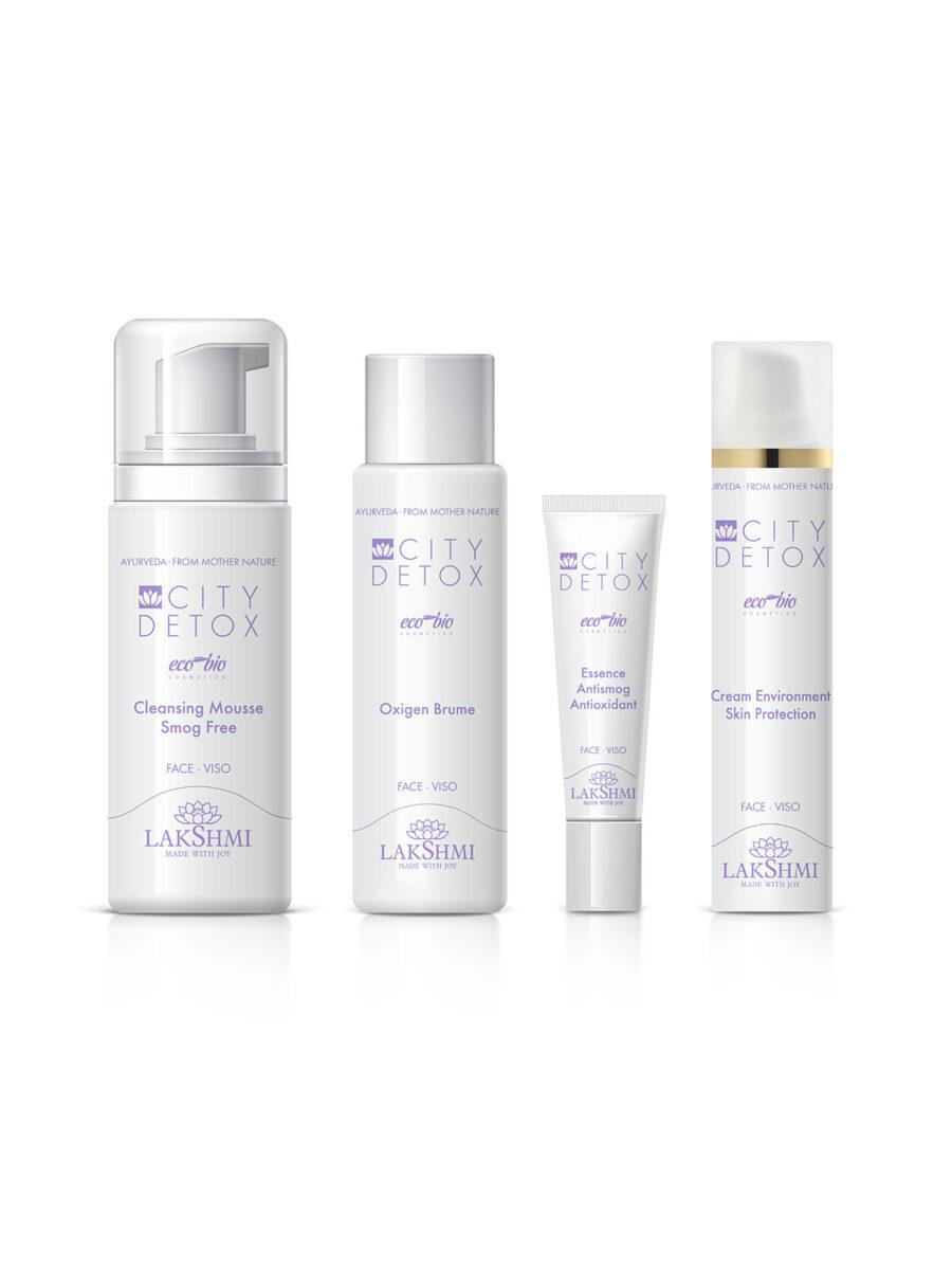 Zestaw 4 kosmetyków anty-smogowych z ekskluzywnej linii LAKSHMI – CityDetox