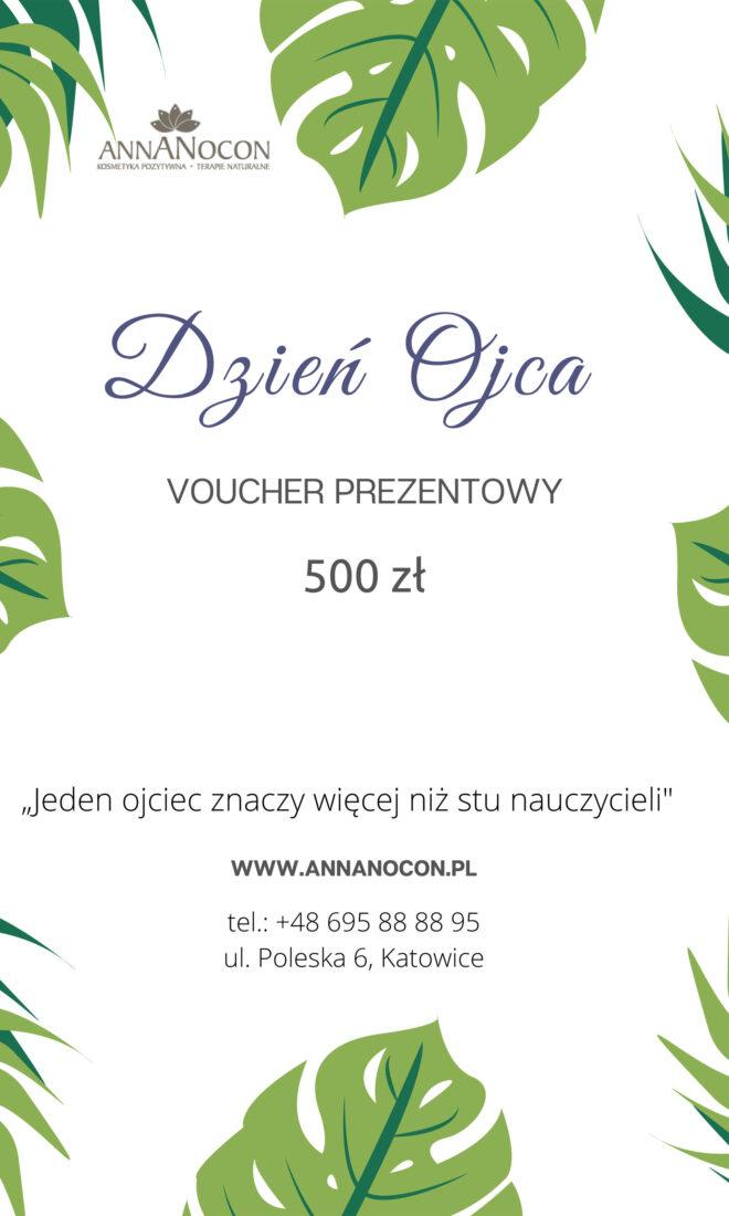 Voucher Prezentowy - Dzień Ojca 500 zł - ANNANOCON Kosmetyka Pozytywna